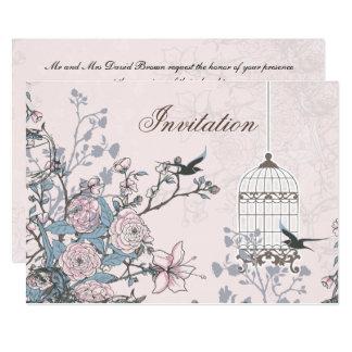 floral powder pink bird cage  love birds wedding card