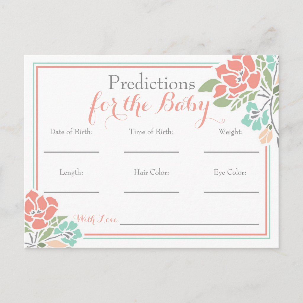 Floral Predictions for Baby Shower, Coral Teal Invitation Postcard