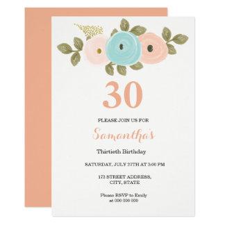 Floral Pretty Peach 30th Birthday Invitation