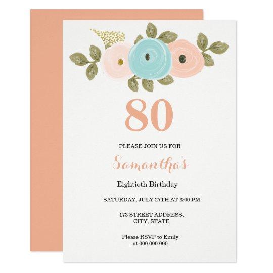 floral pretty peach 80th birthday invitation zazzle com