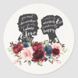 """Floral Pride & Prejudice Jane Austen Wedding Favor Classic Round Sticker<br><div class=""""desc"""">This gorgeous round sticker would be perfect for all book lovers and hopeless romantics out there! The design features lovely hand painted watercolor floral in burgundy, navy and blush elegantly combined with vintage silhouettes of Elizabeth Bennet and Mr Darcy, two of the most beloved and iconic characters in English literature,...</div>"""