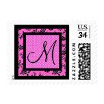 Floral Print and Polka Dots Custom Monogram Postage
