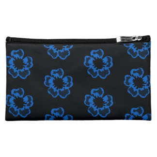 Floral print blue flowers cosmetic bag