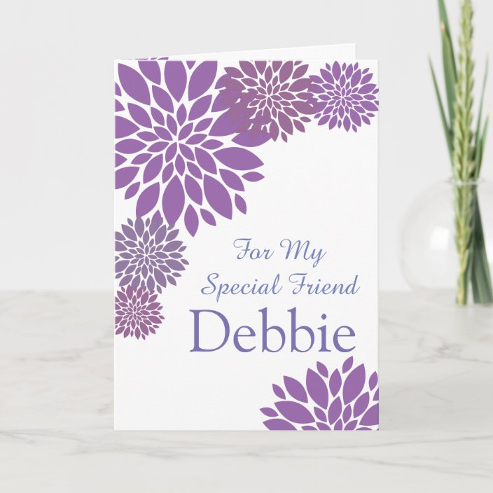 Wondrous Floral Print Custom Name Birthday Card Friend Card Zazzle Com Funny Birthday Cards Online Inifodamsfinfo
