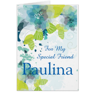Floral Print Custom Name Birthday Card-Friend Card