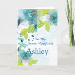 "Floral Print Custom Name Birthday Card-Girlfriend Card<br><div class=""desc"">Imagine this fresh floral watercolor-look printed birthday card being opened by your special girlfriend with her custom name on it. Hues of Blues & Greens on a crisp White background. Greeting printed inside. Customize her name by choosing menu at right, click on the sample name and change the text to...</div>"