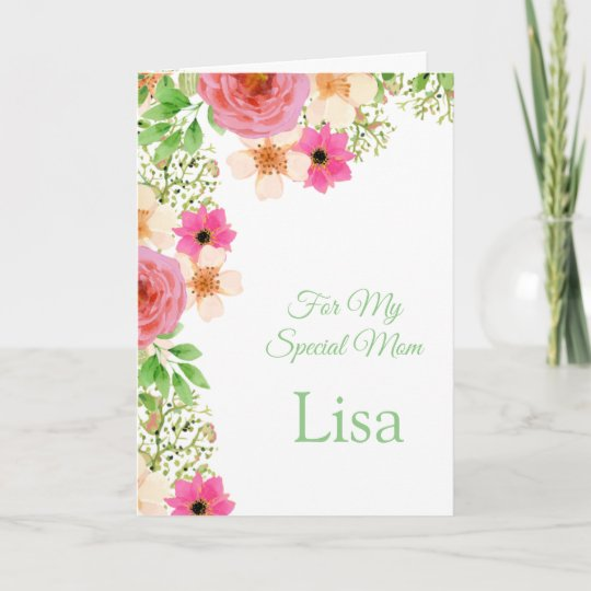 Floral print custom name birthday card mom card zazzle floral print custom name birthday card mom card m4hsunfo