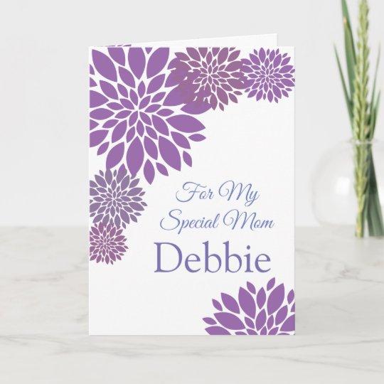 Floral Print Custom Name Birthday Card Mom