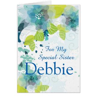 Floral Print Custom Name Birthday Card-Sister Card