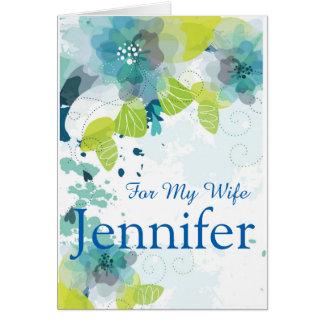 Floral Print Custom Name Birthday Card-Wife Card