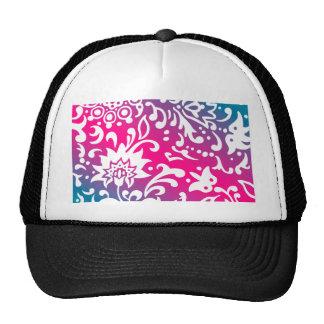 Floral Print Modern Blue PInk White Hats