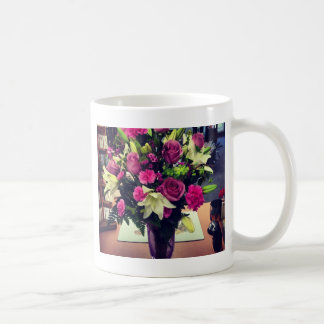 Floral Print of White Lilies and Lavender Roses Coffee Mug