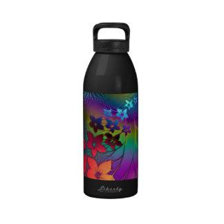 Floral psicodélico botella de agua
