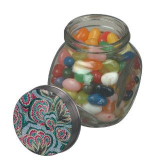 Floral psicodélico con efecto del brillo frascos de cristal jelly belly
