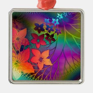 Floral psicodélico adorno cuadrado plateado