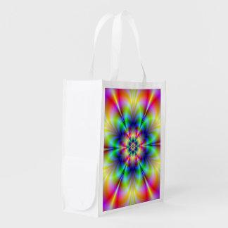 Floral Psychedelia Grocery Bag