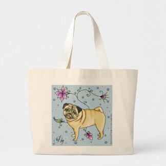 Floral Pug Tote Bag