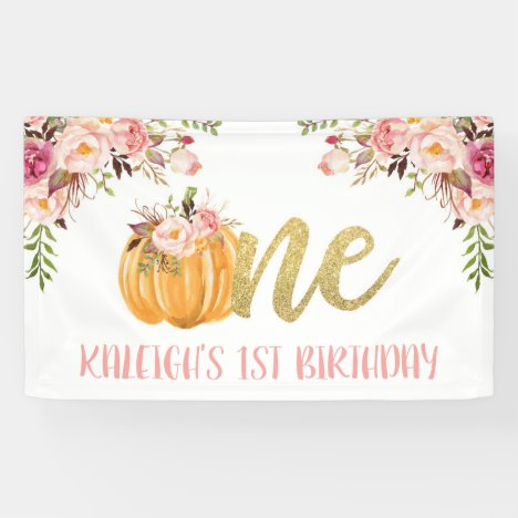 Floral Pumpkin 1st Birthday Banner - Girl