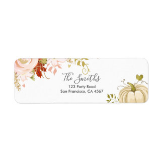 Floral Pumpkin Address Labels Fall Autumn Neutral