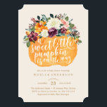 """Floral Pumpkin Baby Shower Invitation<br><div class=""""desc"""">This fall design features autumn florals and foliage in a pumpkin basket with warm fall and neutral colors.</div>"""