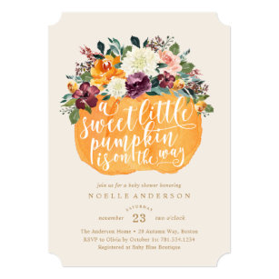Fall baby shower invitations zazzle floral pumpkin baby shower invitation filmwisefo