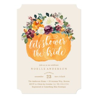 Floral Pumpkin Bridal Shower Invitation
