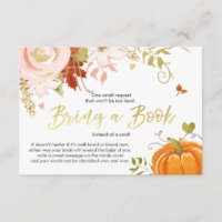 Floral Pumpkin Bring a book Fall Autumn Shower Enclosure Card