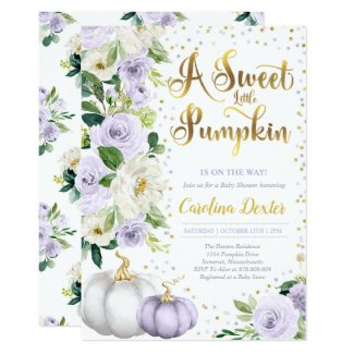 Fall Baby Shower Invitation Template Purple Pumpkin Roses