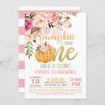 """Floral Pumpkin First Birthday Invitation - Girl<br><div class=""""desc"""">Perfect Invitation to Celebrate your Little Pumpkin Turning ONE!</div>"""