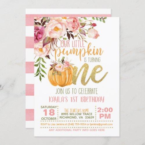 Floral Pumpkin First Birthday Invitation _ Girl
