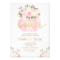 Floral Pumpkin Friendsgiving Dinner Invitation