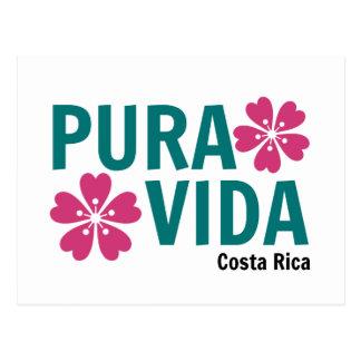 Floral Pura Vida Pink and Green Design Postcard