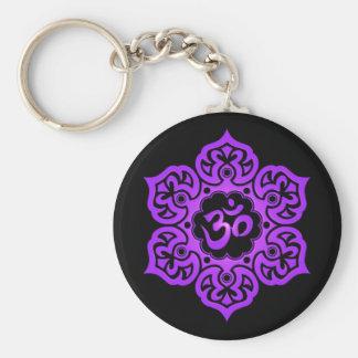 Floral Purple and Black Aum Design Basic Round Button Keychain