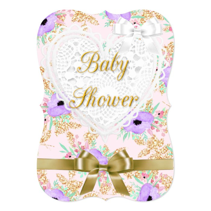 floral purple and gold baby shower invitation zazzle