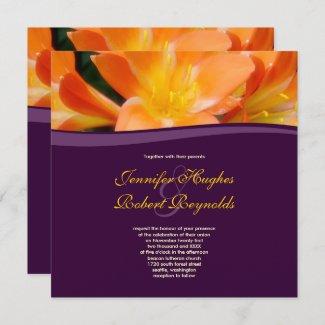Floral Purple and Orange Wedding Invitation