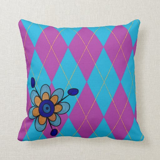 Purple & Blue Argyle & Flower Throw Pillows Zazzle