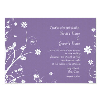 Floral Purple and White Wedding Invitations