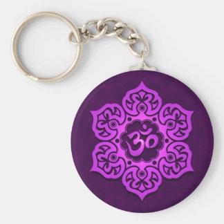 Floral Purple Aum Design Basic Round Button Keychain