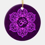 Floral Purple Aum Design Christmas Tree Ornament