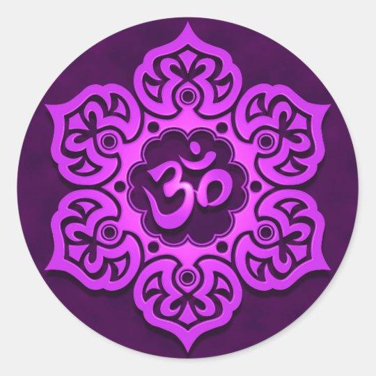 Floral Purple Aum Design Classic Round Sticker