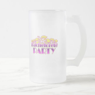 floral purple bachelorette party yellow flowers frosted glass beer mug