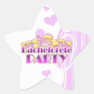 floral purple bachelorette party yellow flowers star sticker