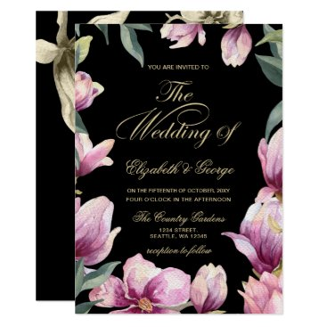 Floral Purple Black and Gold wedding Card
