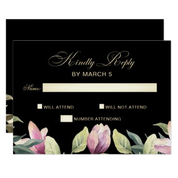 Floral Purple Black and Gold wedding rsvp Card