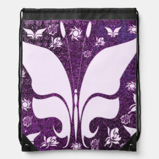 Floral Purple Butterflies Drawstring Backpack