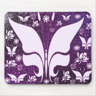 Floral Purple Butterflies Mousepads