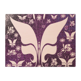 Floral Purple Butterflies Wood Wall Art