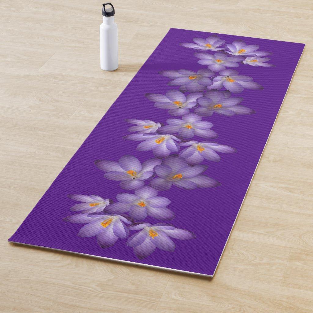 Floral Purple Crocus Garden Flowers Yoga Mat