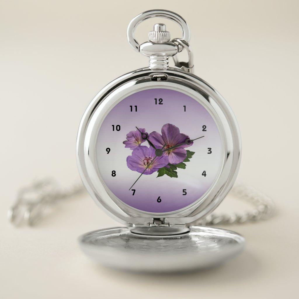 Floral Purple Garden Flowers Pocket Watch