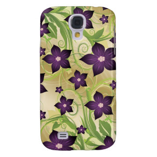 floral purple gold 3 casing galaxy s4 cover